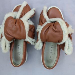 Joshua Sanders Leather and Shearling Trim Size 10
